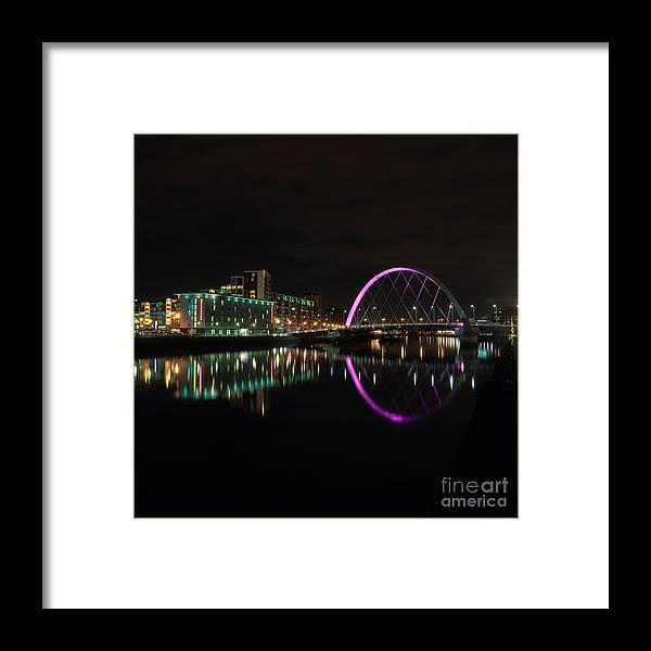 Glasgow Clyde Arc Framed Print featuring the photograph Glasgow Clyde Arc Bridge At Night by Maria Gaellman