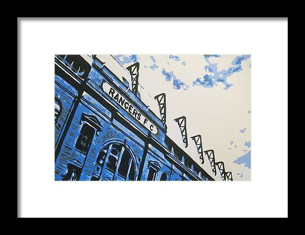 Glasgow Rangers Fc Framed Print featuring the painting Glasgow Rangers Fc - Ibrox Park by Geo Thomson
