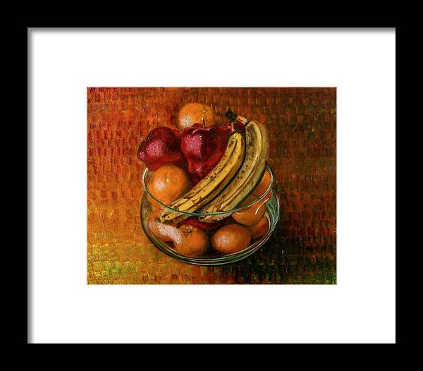 Still Life Framed Print featuring the painting Glass Bowl Of Fruit by Sean Connolly