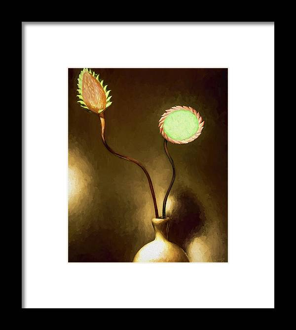 Fine Art Framed Print featuring the painting Glass Flowers by David Wagner
