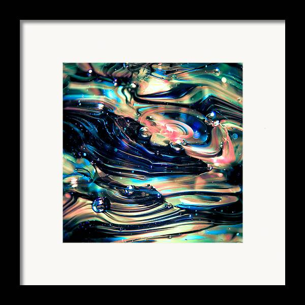 Glass Framed Print featuring the photograph Glass Macro Abstract Rpoce by David Patterson
