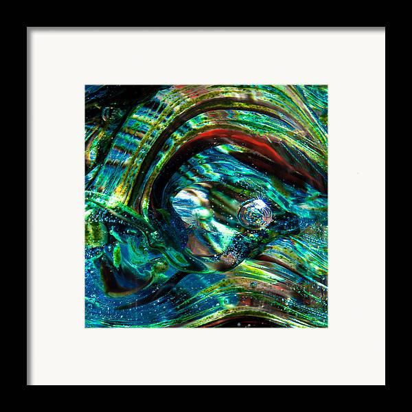Glass Framed Print featuring the photograph Glass Macro - Blue Green Swirls by David Patterson