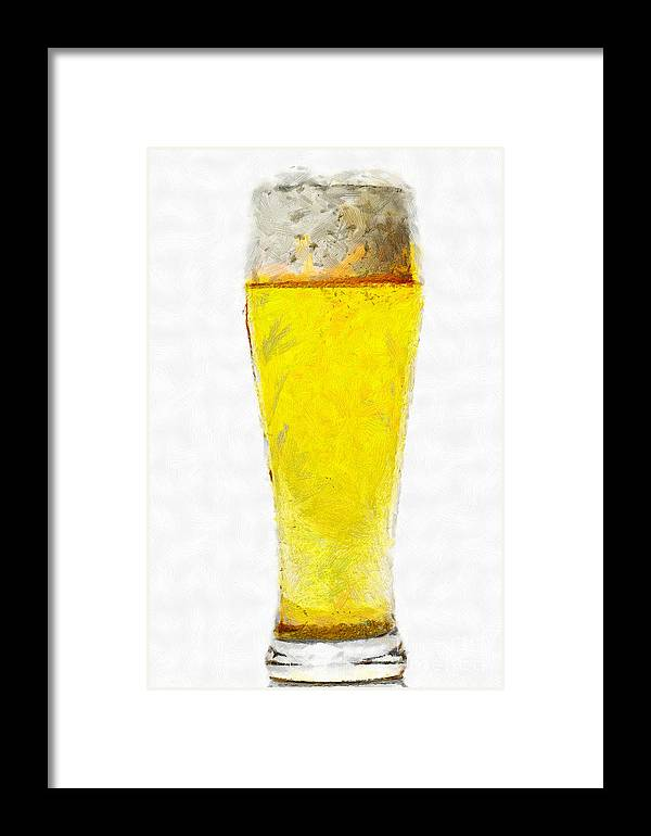Beer Framed Print featuring the painting Glass Of Beer Painting by Magomed Magomedagaev