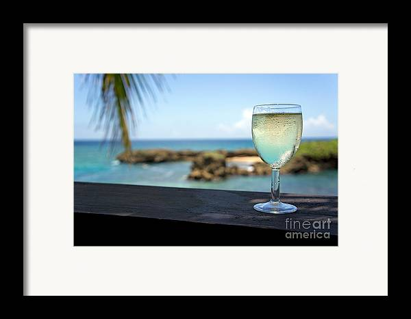 Freshness Framed Print featuring the photograph Glass Of Fresh Wine By Tropical Beach by Sami Sarkis