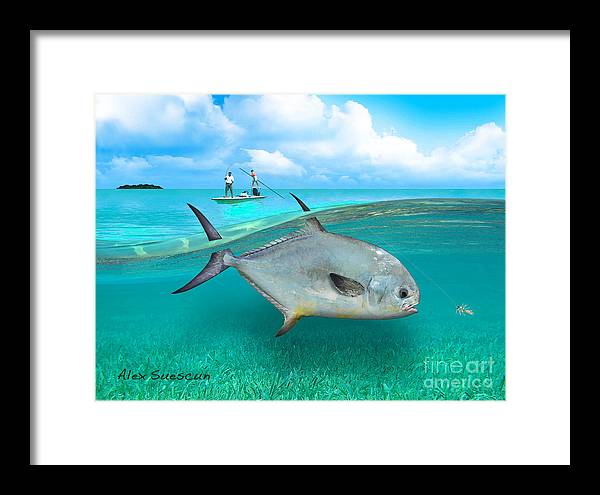 Bonefish Framed Print featuring the painting Glassy Day Permit by Alex Suescun