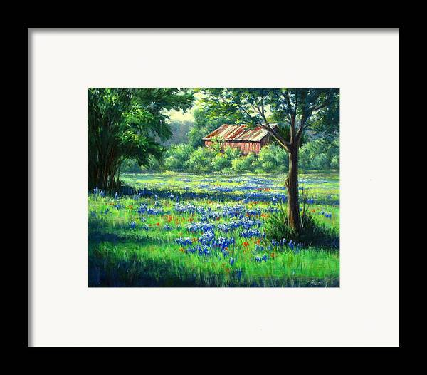 Vickie Fears Framed Print featuring the painting Glen Rose Bluebonnets by Vickie Fears
