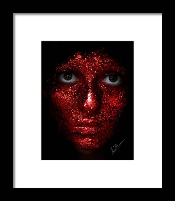 Girl Framed Print featuring the photograph Glitter Face by Masha Vereshchenko