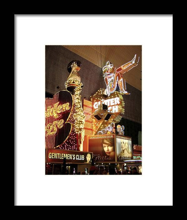 Gentlemen's Club Framed Print featuring the photograph Glitter Gulch In Las Vegas by Gerry High