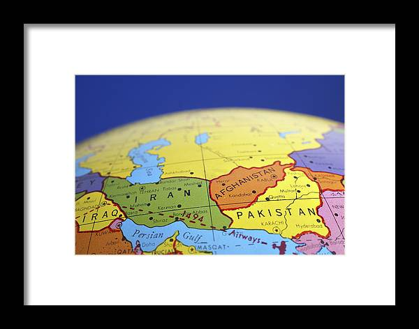 Global map of iran iraq afghanistan pakistan framed print by donald globe framed print featuring the photograph global map of iran iraq afghanistan pakistan by donald erickson gumiabroncs Image collections