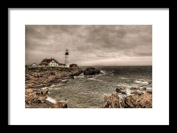 2x3 Framed Print featuring the photograph Gloomy Day At The Portland Head Light by At Lands End Photography