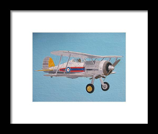 Gloster Framed Print featuring the painting Gloster Gladiator by Ted Denyer