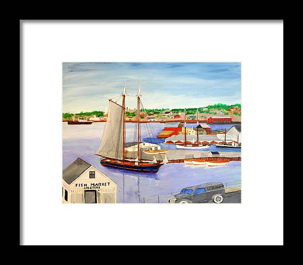 1939 Framed Print featuring the painting Gloucester Fish Mkt. And Schooners 1939 by Bill Hubbard
