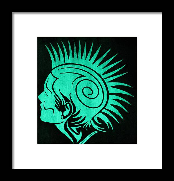 Glow In The Dark Framed Print featuring the painting Glow In The Dark Tribal Punk by Twilight Vision