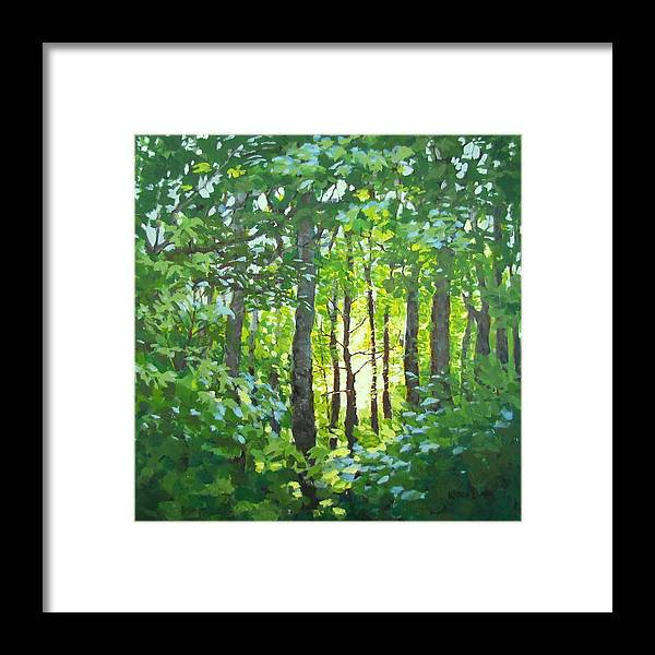 Landscape Framed Print featuring the painting Glow by Karen Ilari