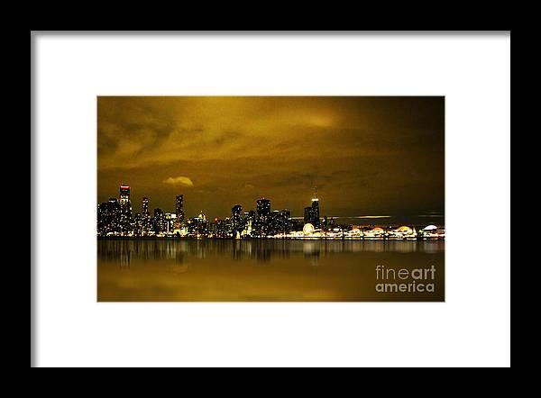 City Night Scene Framed Print featuring the photograph Glow Of Citylights by Cedric Hampton