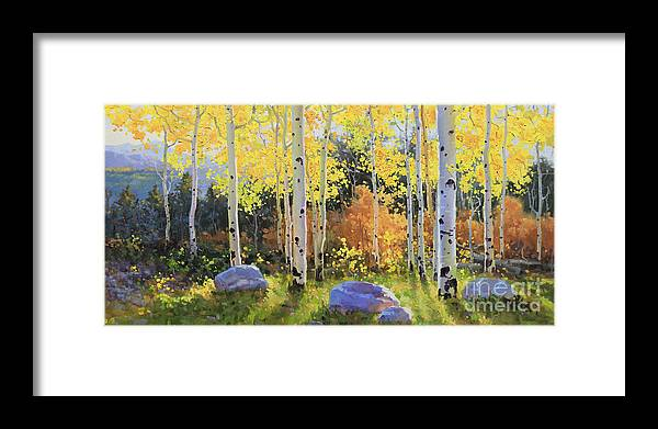Oil Canvas Prints Contemporary Original Framed Print featuring the painting Glowing Aspen by Gary Kim
