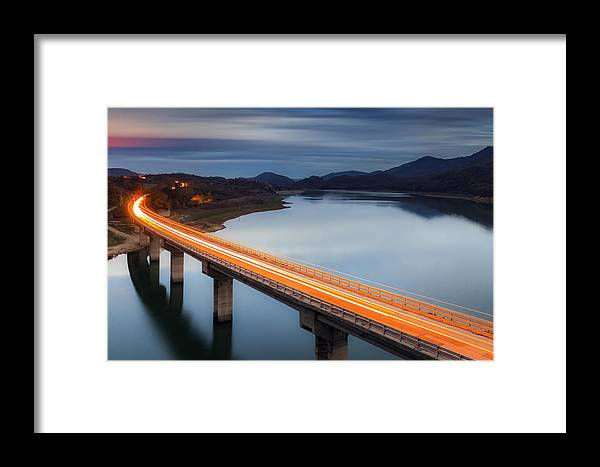 Bulgaria Framed Print featuring the photograph Glowing Bridge by Evgeni Dinev