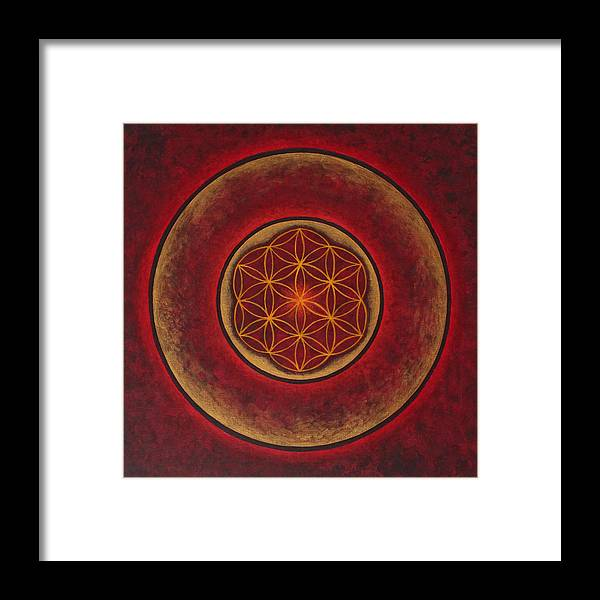 Mandala Framed Print featuring the painting Glowing by Erik Grind