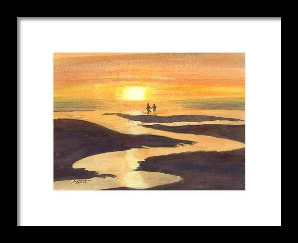 Kalaloch At Sunset Framed Print featuring the painting Glowing Moments by Joel Deutsch