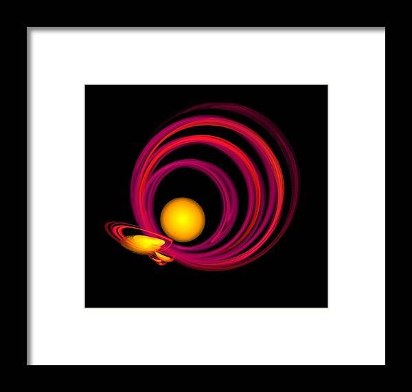 Spheres Framed Print featuring the digital art Glowing Spheres by Elizabeth S Zulauf