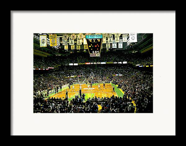 Boston Celtics Framed Print featuring the digital art Go Celtics by David Schneider