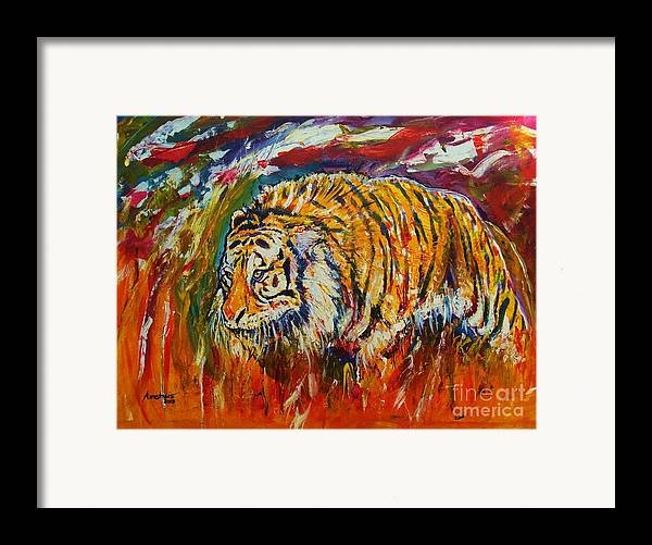 Tiger Framed Print featuring the painting Go Get Them Tiger by Anastasis Anastasi