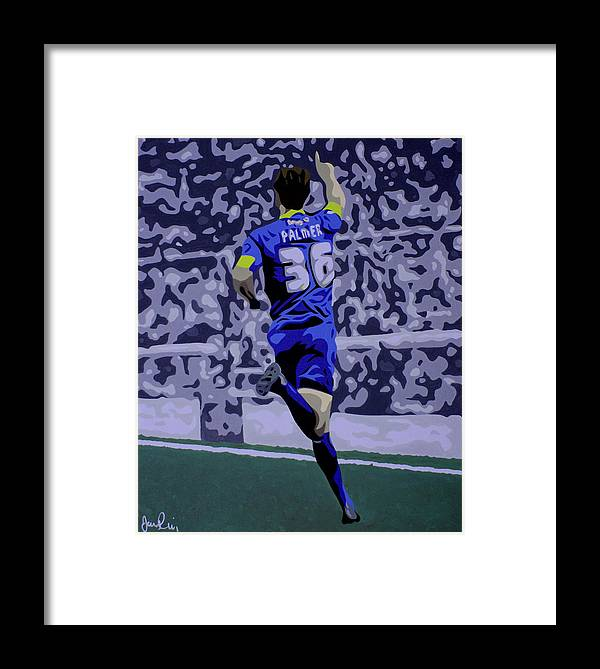 Football Footballer Goal Celebration Oliver Palmer Portrait Mansfield Town Pop Art Contemporary The Stags Framed Print featuring the painting Goal by Ian King