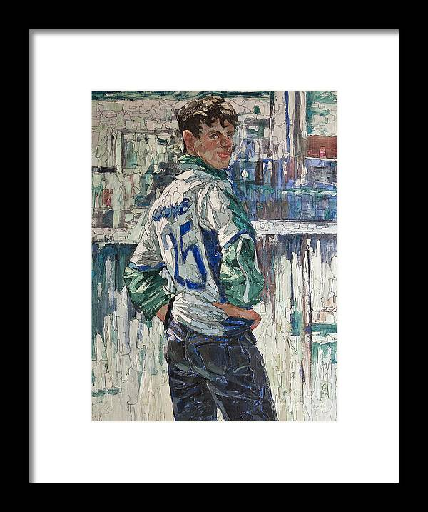 Soccer Framed Print featuring the painting Goalkeeper by Sergey Sovkov