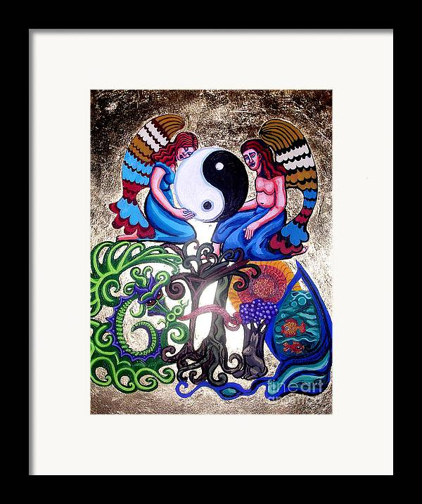 God And Gaia Framed Print featuring the painting God And Gaia by Genevieve Esson