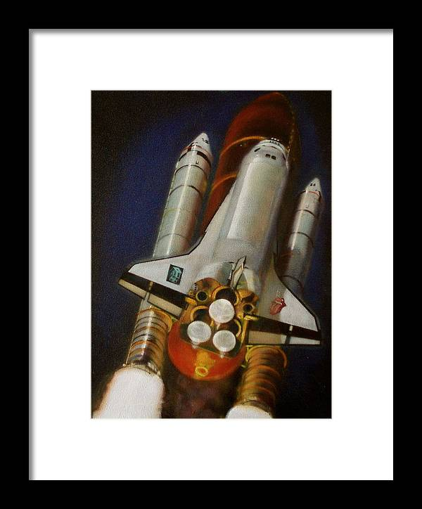 Space Shuttle;launch;liftoff;blastoff;rockets;engines;astronauts;spaceart;nasa;photorealism Framed Print featuring the painting God Plays Dice by Sean Connolly