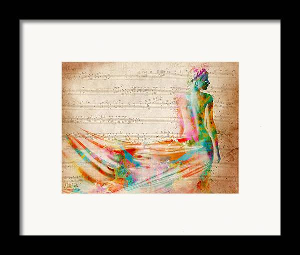 Mozart Framed Print featuring the digital art Goddess Of Music by Nikki Smith