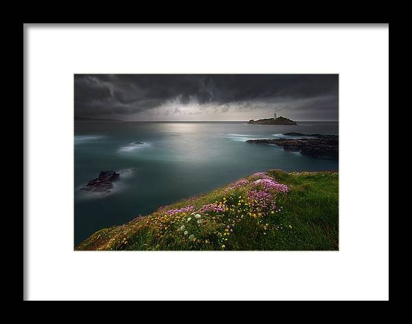 Lighthouse Framed Print featuring the photograph Godrevy Point... by Krzysztof Browko
