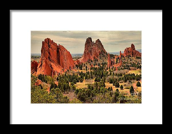 Garden Of The Gods Framed Print featuring the photograph Gods Garden In Colorado by Adam Jewell