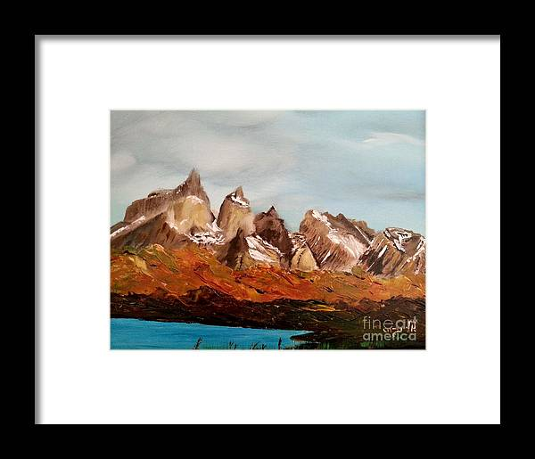 Landscape Framed Print featuring the painting Gods Glory by Eli Gross