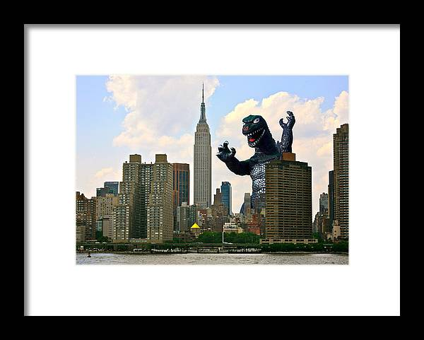 Godzilla Framed Print featuring the photograph Godzilla And The Empire State Building by William Patrick