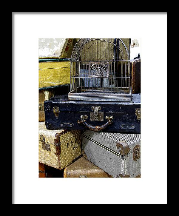 Suitcase Framed Print featuring the photograph Going Somewhere by Rebecca Renfro