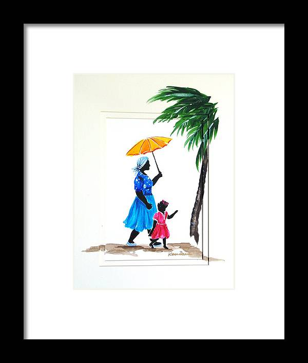 Caribbean Framed Print featuring the painting Going To School 2 by Karin Dawn Kelshall- Best