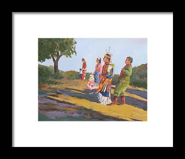 Indians Framed Print featuring the painting Going To The Powwow by Gretchen Jones