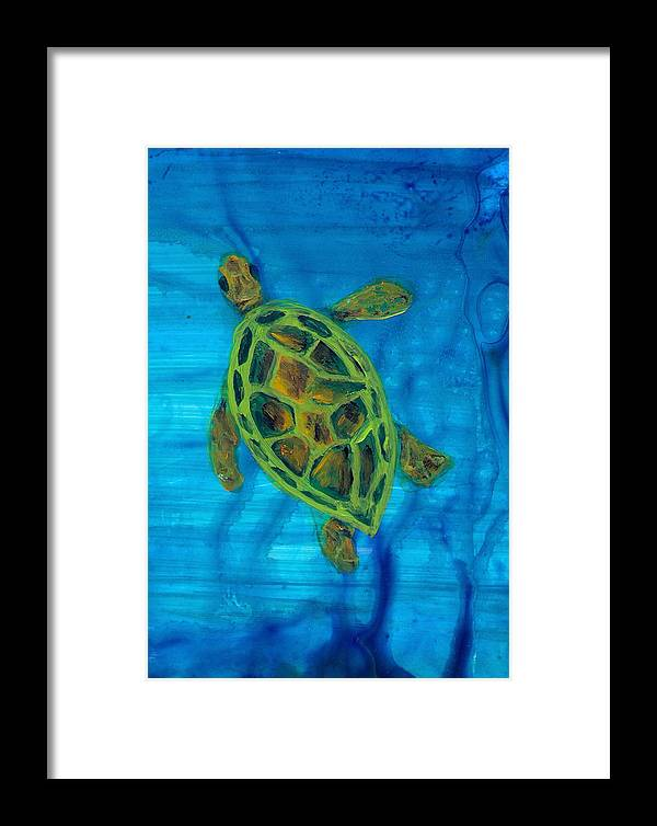 Turtle Framed Print featuring the painting Going Up For Air by Wanda Pepin