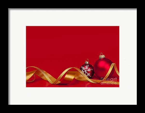 Christmas Framed Print featuring the photograph Gold And Red Christmas Decorations by Elena Elisseeva