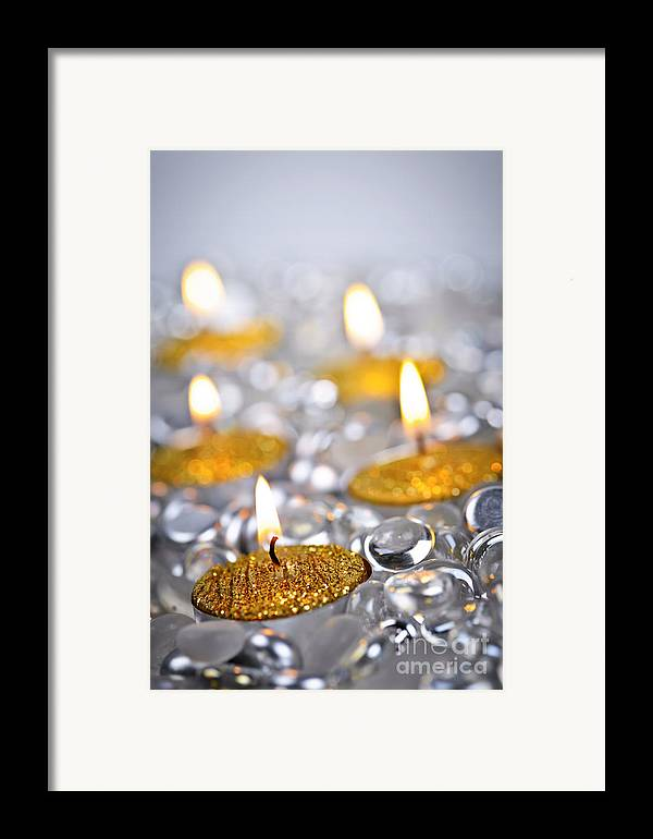 Candles Framed Print featuring the photograph Gold Christmas Candles by Elena Elisseeva