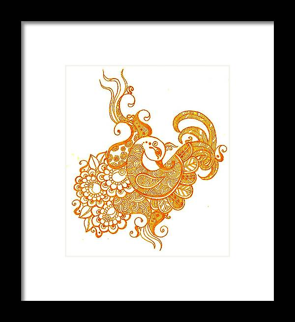 Mehndi Framed Print featuring the drawing Gold by Jessica Petty