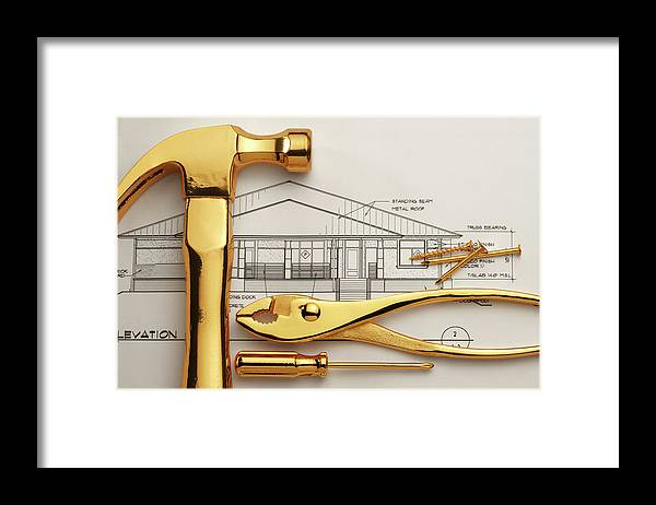 Plan Framed Print featuring the photograph Gold Plated Tools And Blueprints by Dny59