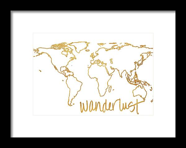 Gold Framed Print featuring the mixed media Gold Wanderlust by South Social Studio