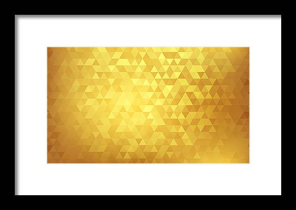 Triangle Shape Framed Print featuring the drawing Golden abstract background by Mfto
