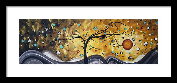 Wall Framed Print featuring the painting Golden Admiration By Madart by Megan Duncanson
