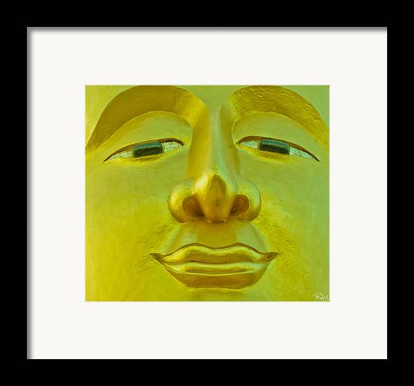 Buddha Framed Print featuring the photograph Golden Buddha Smile by Allan Rufus