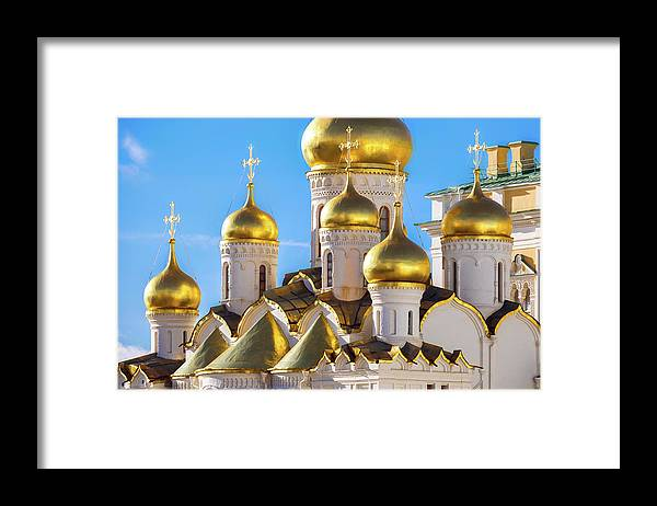Annunciation Framed Print featuring the photograph Golden Domes Of The Russian Church by Mordolff