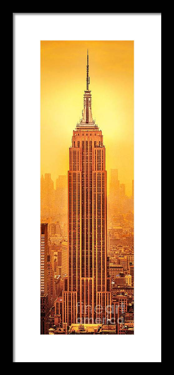 Empire State Building Framed Print featuring the photograph Golden Empire State by Az Jackson