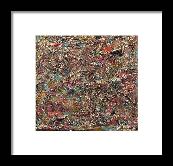Colorful Framed Print featuring the painting Golden Flowers by Jeanne Ward